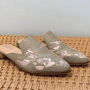Mi.iM Gray Miranda Floral Embroidered Slides
